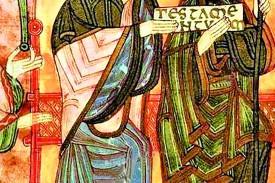D. Alfonso III y Dña. Jimena en una miniatura del s.XIII.