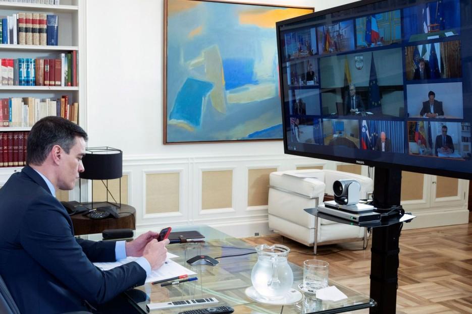 Pedro Sánchez en una reunión telemática de la Conferencia de Presidentes - FOTO: Efe