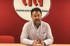 Paulo Carril, secretario xeral de CIG, en el sindicato. - FOTO: E.P.